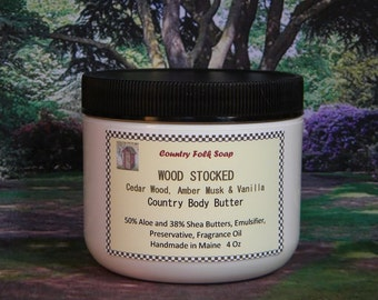 WOOD STOCKED Body Butter Cedar Wood, Amber Musk & Vanilla - Scented Body Butter