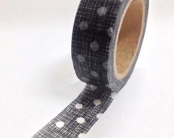 Washi Tape - 15mm - Black Texture and White Dots - Deco Paper Tape No. 834