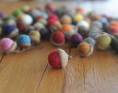 Felted Wool Acorns OR Acorn Ornaments, You pick the Colors & Quantity, custom natural eco friendly decor