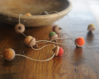 Felted Wool Acorn Garland, Fall Colors, 4 Feet Long on Hemp Twine