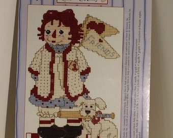 Raggedy Ann doll Baseball Fun and Friends Counted Cross Stitch Kit