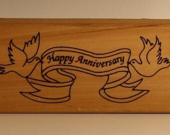 HAPPY ANNIVERSARY Doves with Banner Rubber Stamp