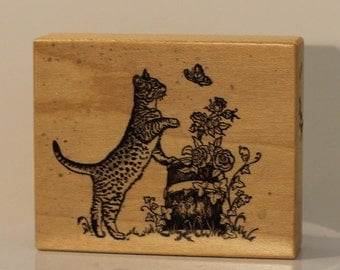 PSX Tabby Cat Playing With Butterfly Tree Stump Roses and Ivy Rubber Stamp Rare