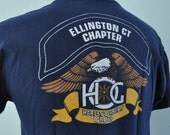 Vintage Harley Davidson TShirt Navy Blue goldBald Eagle Ellington CT MA New England Motorcycle Tee American Biker MEDIUM