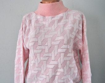 Vintage Sweater Pink White High Mock Turtleneck Ladies SMALL MEDIUM