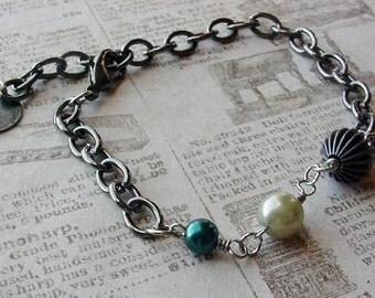 Casual pearl bracelet green pearls and gunmetal bracelet boho bracelet for work or play