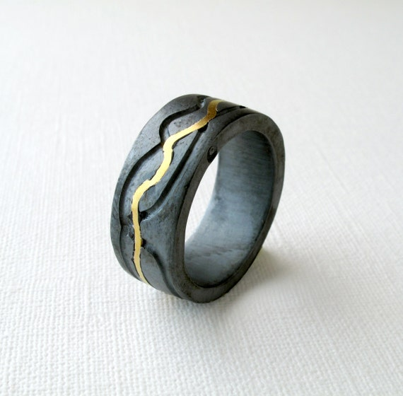 Gold Ring For Men Oxidized Sterling Silver With Gold Channel Ring Gold Man Ring Us Size 11