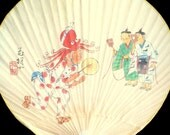 Japanese Fan - Uchiwa Fan - Japanese Vintage Fan - Paddle Fan - Rigid Fan - Vintage Hand Fan Takoodori Octopus Dance Temple