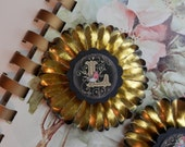vintage gold foil  paper rosettes- Choose your letters