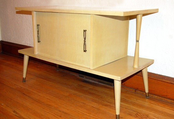 Mid Century 1950s Blonde Wood Formica Low Cabinet By