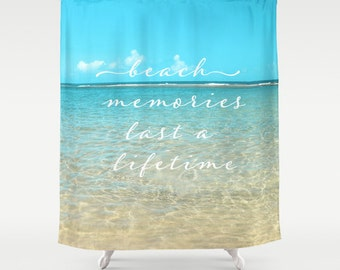 "Ocean Shower Curtain ""Beach Memories"" aqua home decor,teal,turquoise,nautical decor,seashore,summer,Hawaii,typography"