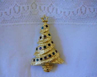 Vintage Pin Brooch Christmas Tree Pin Brooch with colored rhinestones