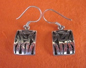 Balinese Sterling Silver Bamboo symbol Earrings / 1.3 inch long  / silver 925 / Bamboo sign of long life / Bali Handmade Jewelry.