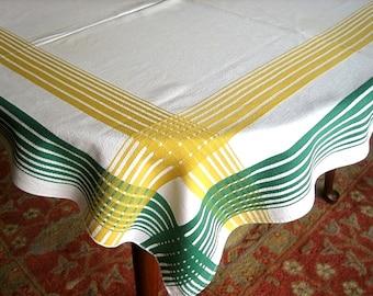 RETRO Vintage Print TABLECLOTH Cotton Smooth Sailcloth Yellow Green Stripe Plaid