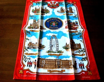 TOWEL Vintage UNUSED Kitchen BathCloth Linen Retro Print Souvenir London ENGLAND 1991