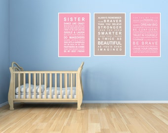 Sister room set 3 - A3 subway bus roll wall art prints
