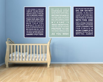 Movie quotes- set 3 - A3 subway wall art prints - Star Wars , Harry Potter, Princess Bride