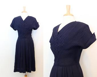 1940s Dress / Vintage 40s Dress / Navy Blue Woven Bodice Dress