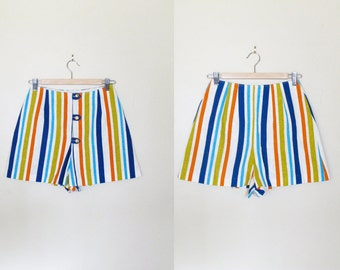 1960s Shorts / Vintage Multi Color Striped Highwaist Hotpants