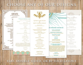 Digital Printable Wedding Program - Choose Any Design