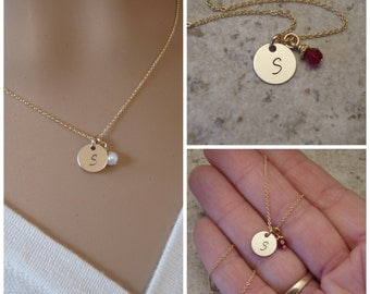 """Dainty gold initial necklace - Tiny gold Initial and birthstone necklace - Small 3/8"""" gold disc necklace - Photo NOT actual size"""