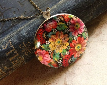 Colourful Locket Necklace - Russian Floral Pattern - Colorful Elegant Unusual Necklace - Vintage European Fabric Pattern Necklace