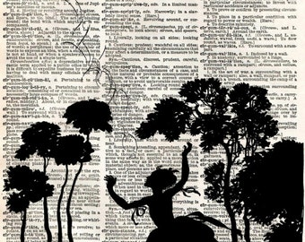 Vintage Book Art Print - Fairytale Silhouette - Bird and Girl Print - Altered Art Book Print - Vintage Dictionary