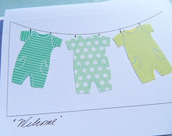 Welcome Baby Cards - Baby Wish Cards - Baby Shower Cards - Cards for New Babies - Baby Onesie Cards - Cards for triplets LBOCD