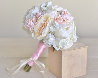 Silk Bridesmaid Bouquet Pink Roses Baby's Breath Rustic Chic Wedding NEW 2014 Design by Morgann Hill Designs