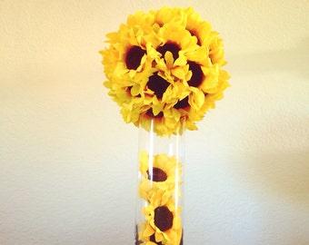 Sunflower Weddings Fall Centerpiece Pomander