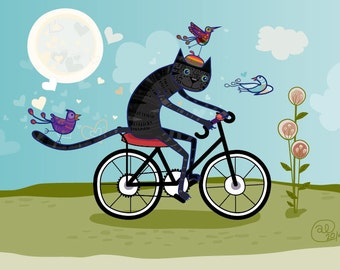 Black Cat on a Bike Ride