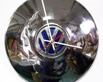 VW Beetle Wall Clock - Volkswagen Bug Hubcap Clock - Volkswagon Chrome Clock with Blue Center