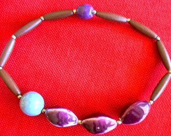 Purple bead necklace, large ceramic beads, statement necklace, chunky beads, choker