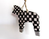 BLACK and WHITE---Ceramic Marionette--Dog on string----Handmade--Holiday gift--Home decor--Gift under 50 USD