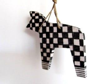 BLACK and WHITE---Ceramic Marionette--Dog on string----Handmade--Holiday gift--Home decor--Gift under 50 USD