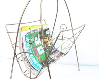 Vintage Atomic Magazine Rack Mid Century Modern Home Decor