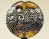 Lampwork Focal Glass Bead, Organic Etched  Lentil Ivory, Brown, Blue, Pink 'Desert Rainbow'