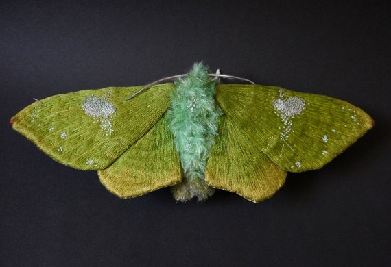 Fabric sculpture -Large green moth (Tanaorhinus viridiluteatus ) textile art