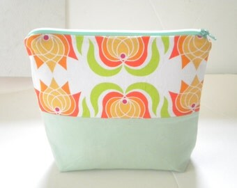 Lotus Cosmetic Bag/Makeup Case/ Organizer Pouch/ Lotus in Creamsicle With Mint