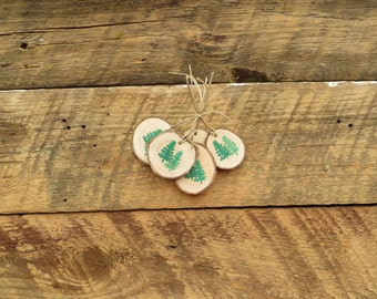 20 Wood Pine Tree Tags  Rustic and Elegant Wood Slices