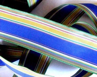 Vintage 1940's Swan Rayon Ribbon 5/8 Inch Gorgeous French Stripe 1 1/2 Inch
