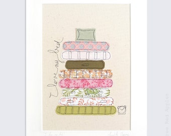 I Love my Bed - Mounted Embroidery - pink, orange, green - 14x11
