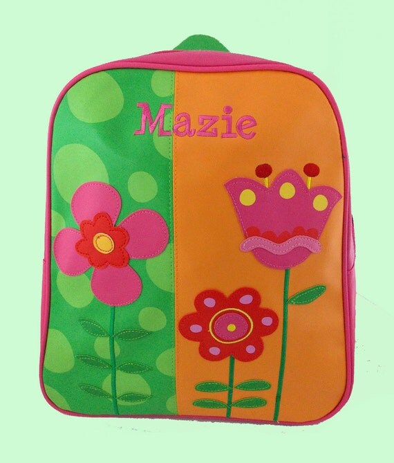 Personalized Child's Stephen Joseph GoGo Backpack FLOWERS Themed Bag-Monogramming Included