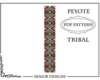 Peyote Bead Pattern Tribal Bracelet Peyote Beading Pattern Bracelet Geometric Triangle Seed Bead Aztec Native American Ethnic Pattern