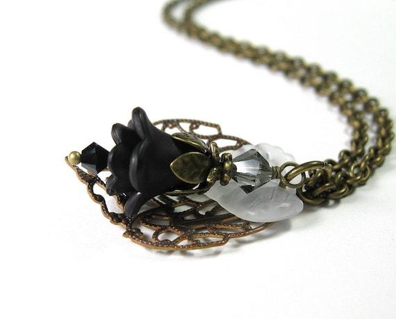 Flower Necklace, Black, Vintaj Brass, Vintage Style, Charcoal, Czech Glass, Womens Accessories, Romantic, Sexy, Goth, Feminine Fashions
