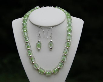 Lime Green and Clear Glass Bead Sterling Silver Bead Necklace and Earrings Set