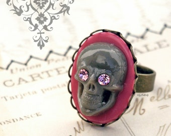 Gray Skull Ring, Pink and Grey Skull RIng, Gothic Jewely, Goth, Novelty Adjustable Ring