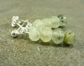 Prehnite Gemstone Post Earrings Sterling Silver
