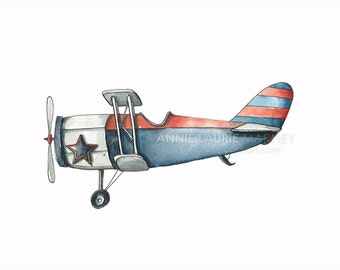 """Vintage Airplane - 8x10"""" Watercolor Print - Navy and Red Airplane, Aviation, Plane"""