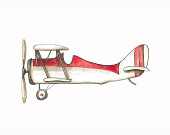 """Vintage Airplane - 8x10"""" Watercolor Print - Red and White Airplane, Aviation, Plane"""